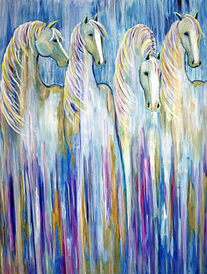 Waterfall Abstract Horses Poster