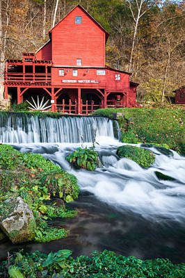 Waterfall And Hodgson Mill - Missouri Poster