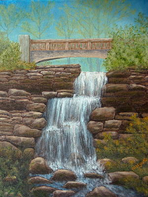 Waterfall At East Hampton Poster by Pamela Allegretto