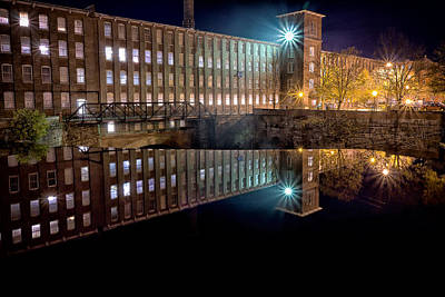 Waterfall At The Cocheco Mill At Night Poster by Jeff Sinon