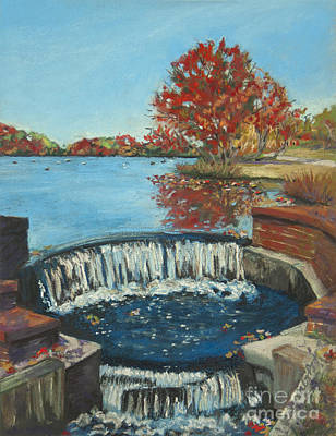 Poster featuring the painting Waterfall Brookwood Hall by Susan Herbst