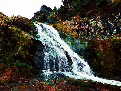 Waterfall By Stiles Cove Path Poster