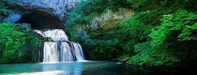 Waterfall In A Forest, Lison River Poster by Panoramic Images