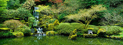 Waterfall In A Garden, Japanese Garden Poster by Panoramic Images