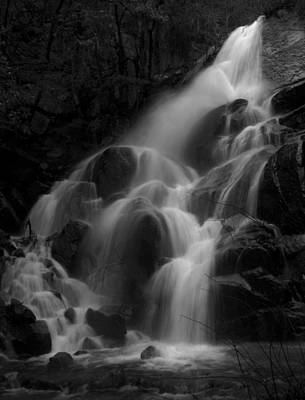 Waterfall In Black And White Poster