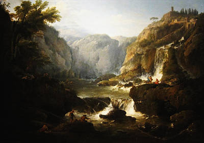 Poster featuring the digital art Waterfall by Joseph Vernet