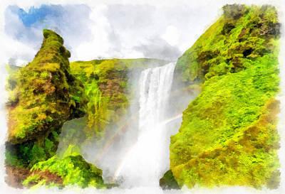 Waterfall Skogafoss Iceland Aquarell Painting Poster by Matthias Hauser