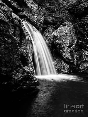 Waterfall Stowe Vermont Black And White Poster
