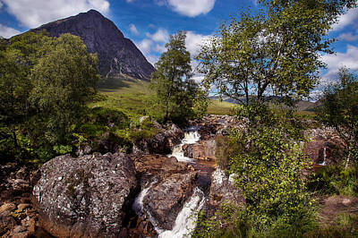 Waterfall Towards Buachaille Etive Mor - Glencoe Poster by Niall McWilliam