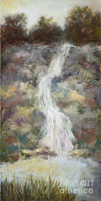 Waterfall With Gold Leaf By Vic Mastis Poster