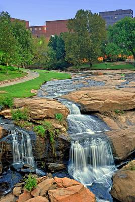 Waterfalls And Downtown Greenville Sc Skyline At Dawn Poster