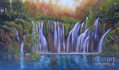 Poster featuring the painting Waterfalls - Plitvice Lakes by Vesna Martinjak