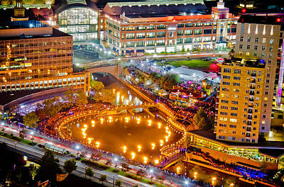 Waterfire Providence-aerial Shot Poster