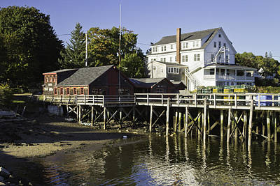 Waterfront Pier In Tenants Harbor Maine Poster by Keith Webber Jr