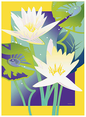 Waterlilies Yellow Border Poster