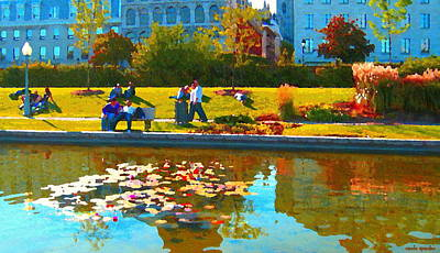 Waterlily Gardens At The Old Port Vieux Montreal Quebec Summer Scenes Carole Spandau Poster by Carole Spandau