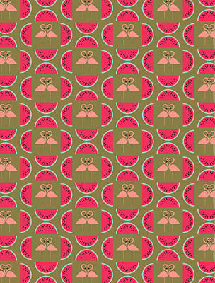 Watermelon Flamingo Print Poster
