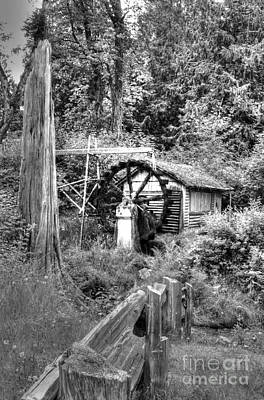 Waterwheel In Black And White Poster