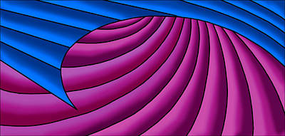 Poster featuring the digital art Wave - Blue And Plum by Judi Quelland