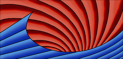 Poster featuring the digital art Wave - Blue And Red by Judi Quelland
