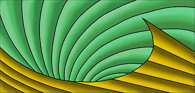 Poster featuring the digital art Wave  - Gold And Green by Judi Quelland