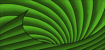 Poster featuring the digital art Wave - Greens by Judi Quelland