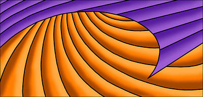 Poster featuring the digital art Wave - Purple And Orange by Judi Quelland