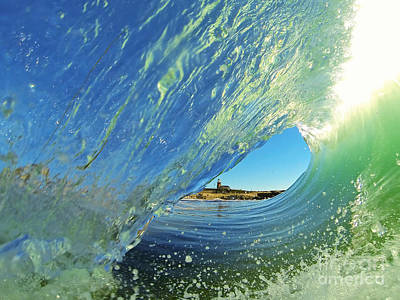 Poster featuring the photograph Wave And Lighthouse 2 by Paul Topp