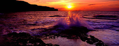 Wave Breaking On Rocks, Bempton Poster by Panoramic Images