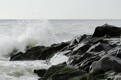 Wave On Rocks Poster