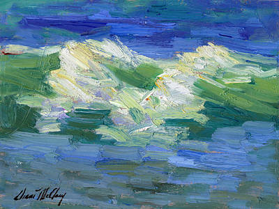 Waves At Rosarito Poster by Diane McClary