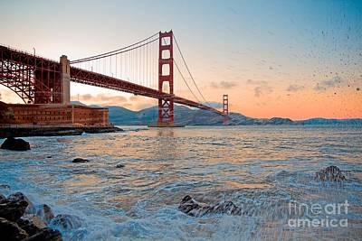 Waves Crash Under The Golden Gate Bridge Poster by Mel Ashar
