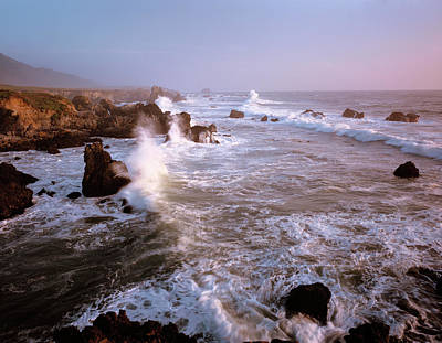 Waves Crashing On The Rugged Big Sur Poster by Greg Probst