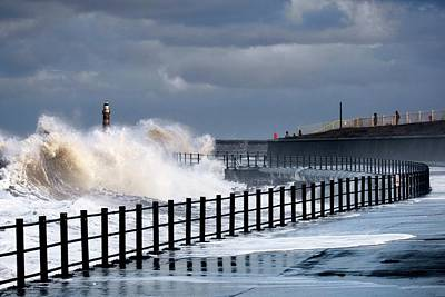 Waves Crashing, Sunderland, Tyne Poster