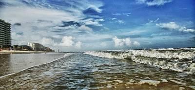 Waves On Orange Beach Poster by Michael Thomas
