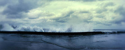 Waves Splashing Into The Malecon Poster by Panoramic Images