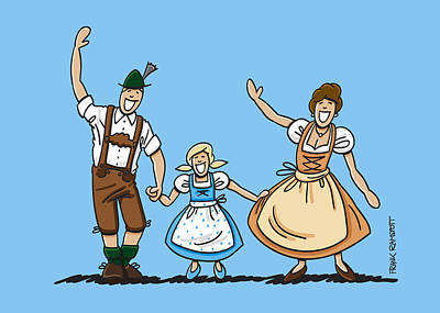 Waving Bavarian Couple With Daughter Poster by Frank Ramspott
