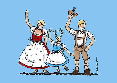 Waving Dirndl And Lederhosen Family Poster by Frank Ramspott