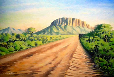 Poster featuring the painting Way To Maralal by Anthony Mwangi