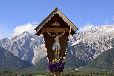 Wayside Cross In Alps Poster