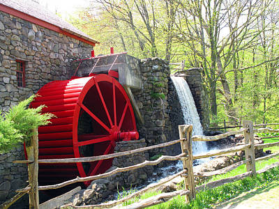 Wayside Inn Grist Mill Poster by Barbara McDevitt