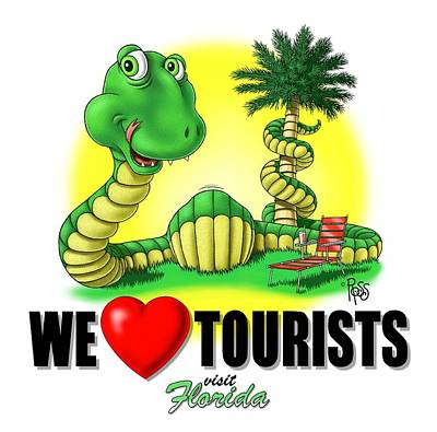 We Love Tourists Snake Poster by Scott Ross