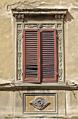 Weathered Red Wood Window Shutters Of Tuscany II Poster by David Letts