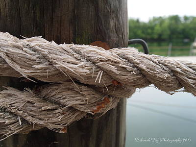 Poster featuring the photograph Weathered Ropes On The Dock by Deborah Fay