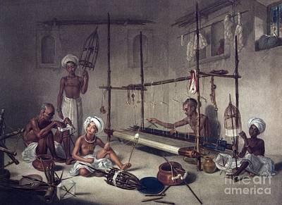 Weavers Using A Loom, Artwork Poster