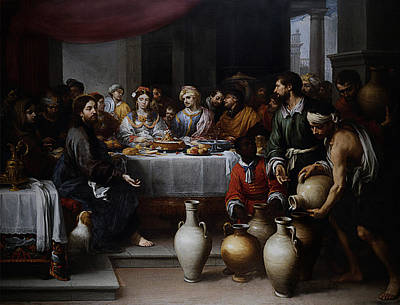 Poster featuring the digital art Wedding At Cana by Esteban Murillo