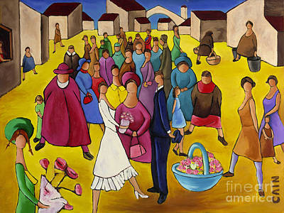 Wedding In Plaza Poster by William Cain