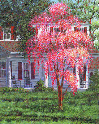 Weeping Cherry By The Veranda Poster by Susan Savad