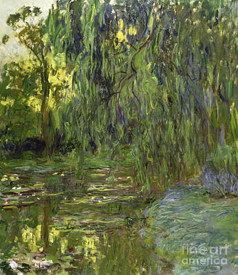 Weeping Willows The Waterlily Pond At Giverny Poster