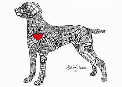 Poster featuring the drawing Weimaraner by Melissa Sherbon